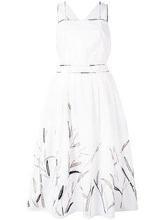 расклешенное платье с рисунком из листьев Blumarine