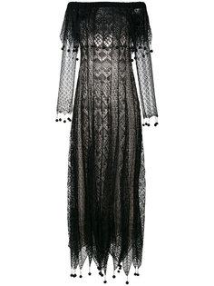 платье с кружевами и помпонами Alexander McQueen