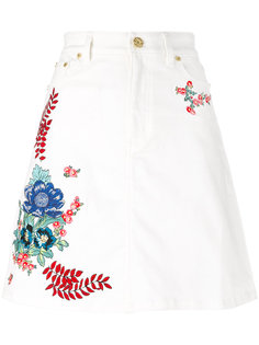 джинсовая юбка с вышивками House Of Holland