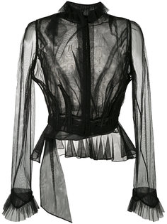 прозрачная блузка с рюшами Maison Margiela