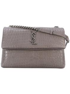 сумка на плечо Monogram с эффектом кожи крокодила Saint Laurent