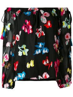 блузка с открытыми плечами и вышивкой  Tanya Taylor
