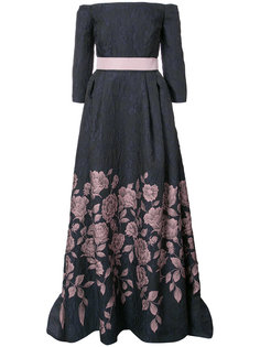 off-the-shoulder floral gown Carolina Herrera