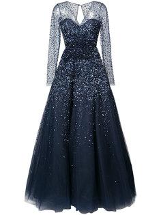 расклешенное платье макси с вышивкой Carolina Herrera