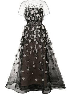 прозрачное вечернее платье с вышивкой Carolina Herrera
