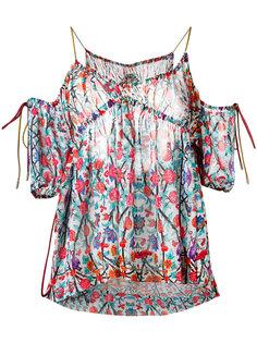 блузка с открытыми плечами и цветочным узором Miahatami