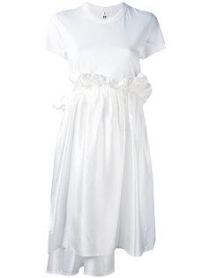 платье-футболка с оборкой на талии  Comme Des Garçons Noir Kei Ninomiya