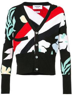 свитер с цветочным и полосатым узором Thom Browne