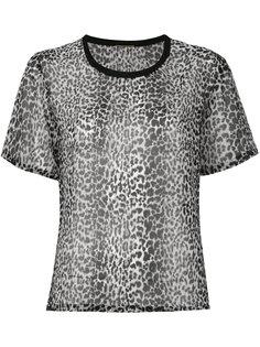 полупрозрачная футболка с леопардовым принтом Saint Laurent