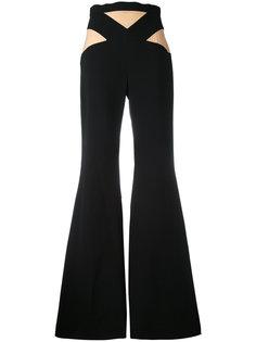 расклешенные брюки с двухцветной отделкой Balmain