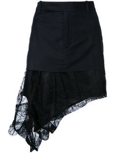 асимметричная юбка с кружевным подолом A.F.Vandevorst