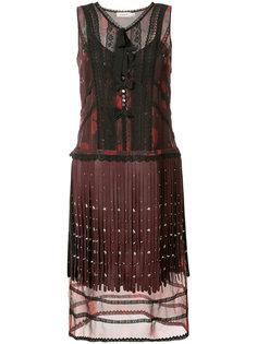 многослойное платье с бахромой Coach
