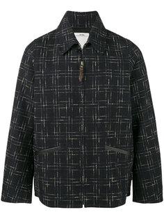 пиджак в клетку с вставками из кожи кенгуру Everett Visvim