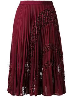 плиссированная юбка с кружевными вставками Self-Portrait