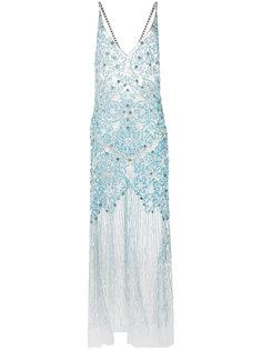 длинное платье-комбинация с блестящей отделкой Amen Amen.