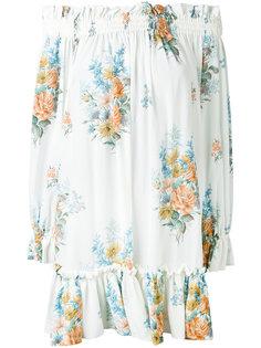 свободное платье в цветочный узор с открытыми плечами Alexander McQueen