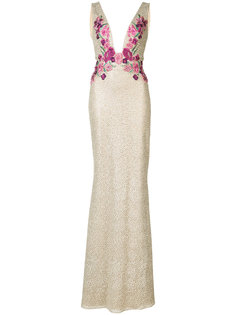 платье в пол с цветочным мотивом Marchesa Notte