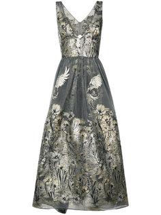платье с цветочным узором металлик  Marchesa Notte