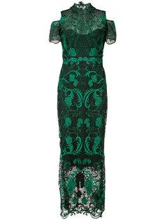 платье с вышитыми розами  Marchesa Notte