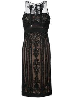 кружевное платье миди с вышивкой  Marchesa Notte