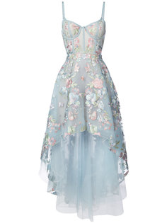 асимметричное платье с цветочной вышивкой  Marchesa Notte
