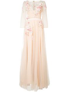длинное платье с цветочной вышивкой  Marchesa Notte