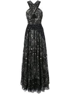 платье с перекрестными бретельками и пайетками  Marchesa Notte
