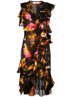 платье с разноцветными рюшами Givenchy