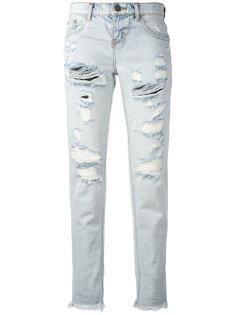 укороченные джинсы с протертостями One Teaspoon