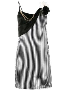 платье в полоску с брошью-цветком  Lanvin