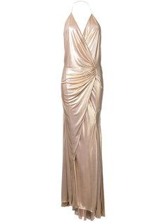 драпированное длинное платье с вырезом-халтер Alexandre Vauthier