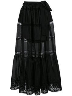 полупрозрачная расклешенная юбка макси Alberta Ferretti