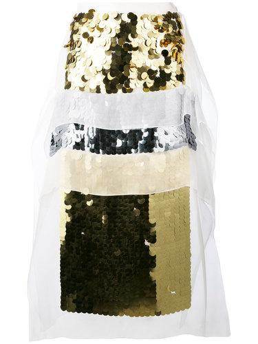 юбка длины миди с отделкой пайетками Christopher Kane