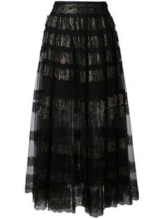 длинная юбка из тюля с блестящим кружевом Christopher Kane