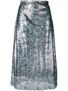 блестящая гипюровая юбка длины миди Christopher Kane