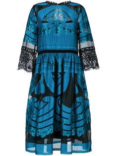 расклешенное платье с прозрачной деталью Alberta Ferretti