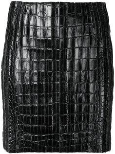 мини-юбка с выделкой под крокодила Mugler