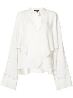 блузка с удлиненными рукавами и V-образным вырезом  Derek Lam