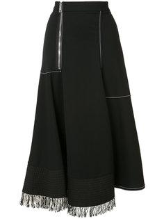 юбка с передней молнией и бахромой Derek Lam
