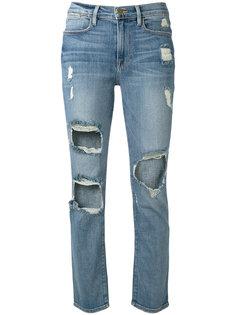 укороченные джинсы с потертой отделкой Frame Denim