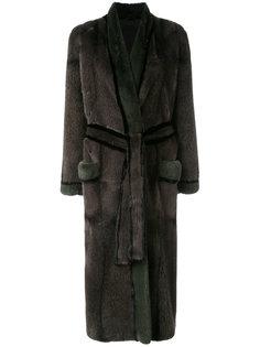 норковое пальто с поясом Liska