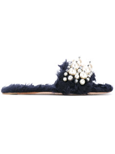 декорированные шлепанцы Miu Miu
