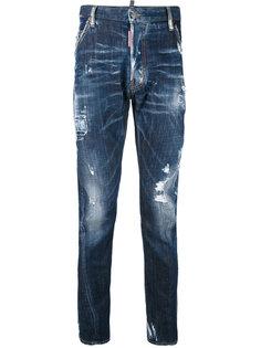 выбеленные рваные джинсы Dsquared2
