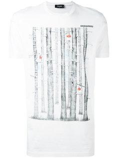 футболка с рисунком в виде деревьев Dsquared2