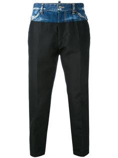 брюки-джоггеры с джинсовой вставкой Dsquared2