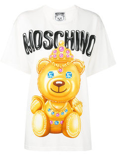 футболка с принтом медведя в короне Moschino
