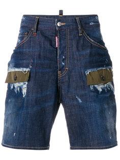 джинсовые шорты с заплатками Dsquared2