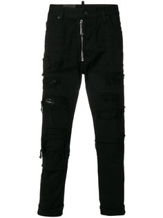 байкерские брюки с эффектом потертости Dsquared2