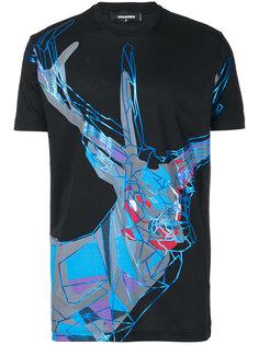 футболка с принтом в виде лося Dsquared2
