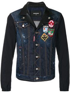 джинсовая куртка с кожаной вставкой Dsquared2